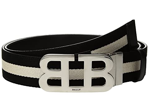 Bally Mirror B Buckle Bally Stripe Canvas and Leather Belt