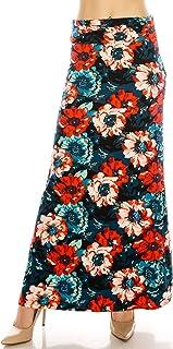 EEVEE Women`s Printed Foldover Waistband Fashionable Long Maxi Skirt Dress