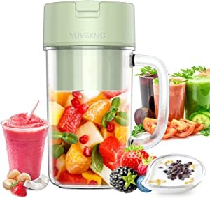 Yuvekng,Portable Blender,One-handheld Drinking Personal Blender for Shakes and Smoothies,12 oz Mini Cup with Rechargeable USB,BPA-Free Juicer,Classic Light Green,Baby Food maker,Travel Sport Bottle