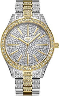 JBW Luxury Women's Cristal 0.12 Carat Diamond Wrist Watch with Stainless Steel Link Bracelet