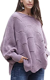 Relipop Women's Pullover Batwing Sleeve Loose Hollow Knit Sweaters