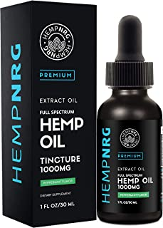 HEMPNRG 1000 MG Extract for Pain, Anxiety & Stress Relief- Helps with Sleep, Skin & Hair - Peppermint Flavor