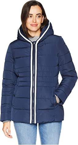 Zip Front Horizontal Puffer with Hood