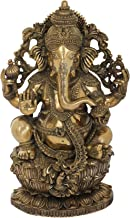 Superfine King Ganesha Seated on Lotus - Brass Statue