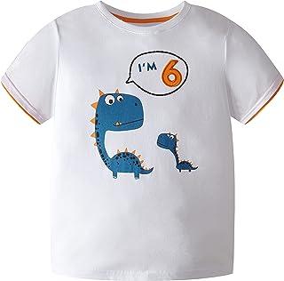 COOLKIDS Toddler Boys Top Tees Short Sleeve T-Shirts Dinosaur Birthday Boy Shirt