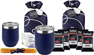 Tea Gift Set for Tea Lovers - Coffee Gift Basket for Coffee Lover Includes Double Insulated Tea Cup 12 Uniquely Blended Ta...
