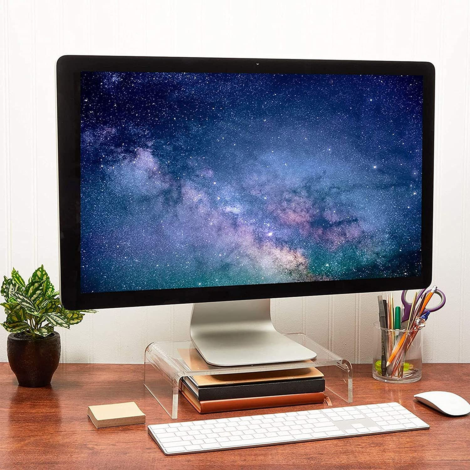 Acrylic Computer Monitor Stand, Clear Display Riser (12 x 8 x 3 in)
