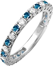 Dazzlingrock Collection 1.00 Carat (ctw) 18K White Gold Round Blue And White Diamond Eternity Sizeable Stackable Wedding Band