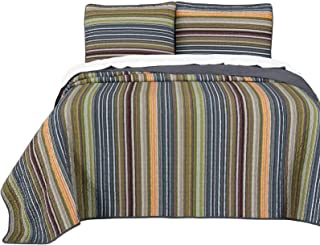 Chezmoi Collection Avery 3-Piece Multi-Color Striped 100% Washed Cotton Quilt Set Queen Size