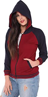 JUNEBERRY Cotton Hooded Regular Fit Sweatshirt for Women