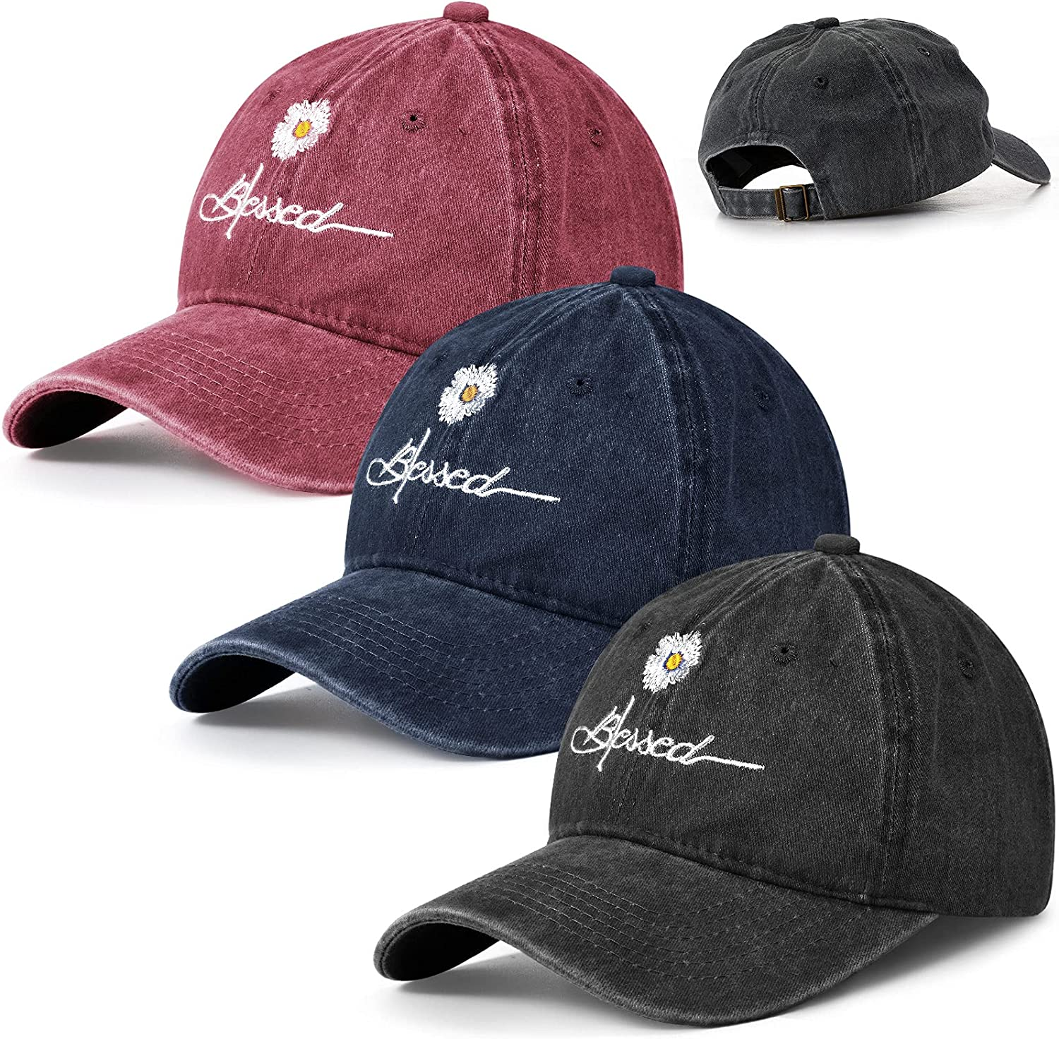 3 Pieces Adjustable Distressed Blessed Hat Daisy Blessed Embroidered Baseball Cap Washed Vintage Dad Hat Sun Hat Fishing Hat for Men and Women