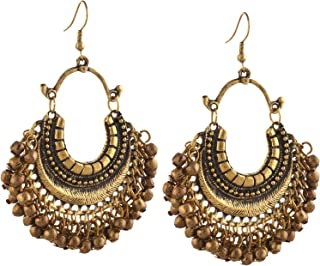 Fashion German Silver Beaded Turkish Style Chandbali Earrings for Women