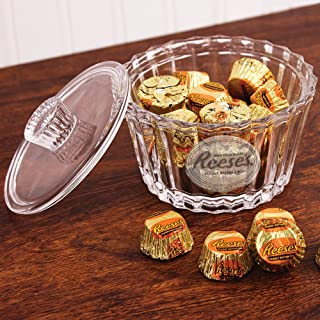 Reeses Crystal Candy Dish with Lid and Frosted Logo Heirloom-Quality Bowl by Godinger