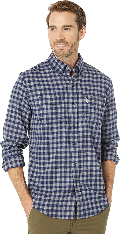 U.S. Polo Assn. Long Sleeve Peach Twill Button-Down Woven Shirt Classic Navy SM