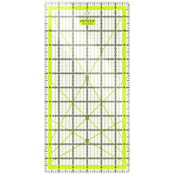 "ARTEZA Quilting Ruler, Laser Cut Acrylic Quilters' Ruler with Patented Double Colored Grid Lines for Easy Precision Cutting, 6"" Wide x 12"" Long for Quilting, Sewing & Crafts, Black & Lime Green"