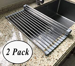 Sink Rack - 2 Pack Roll Up Sink Drying Rack, Multipurpose Dishes Drying Rack Over Sink, Foldable Kitchen Drainer Rack, by Ashnna (18.5