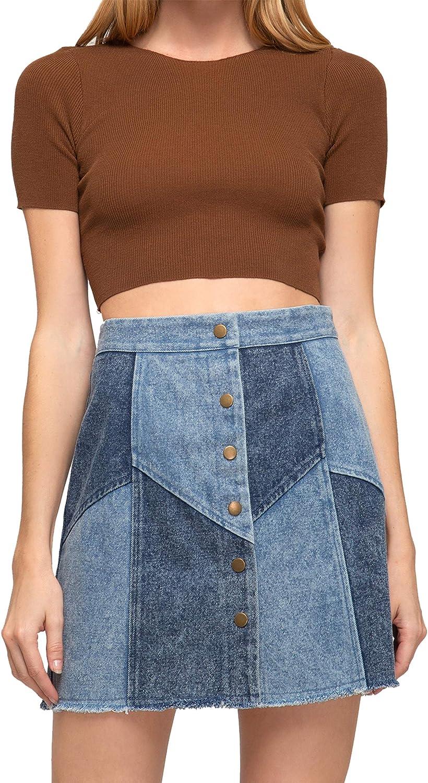 She + Sky Two Toned Denim Mini Skirt- Large