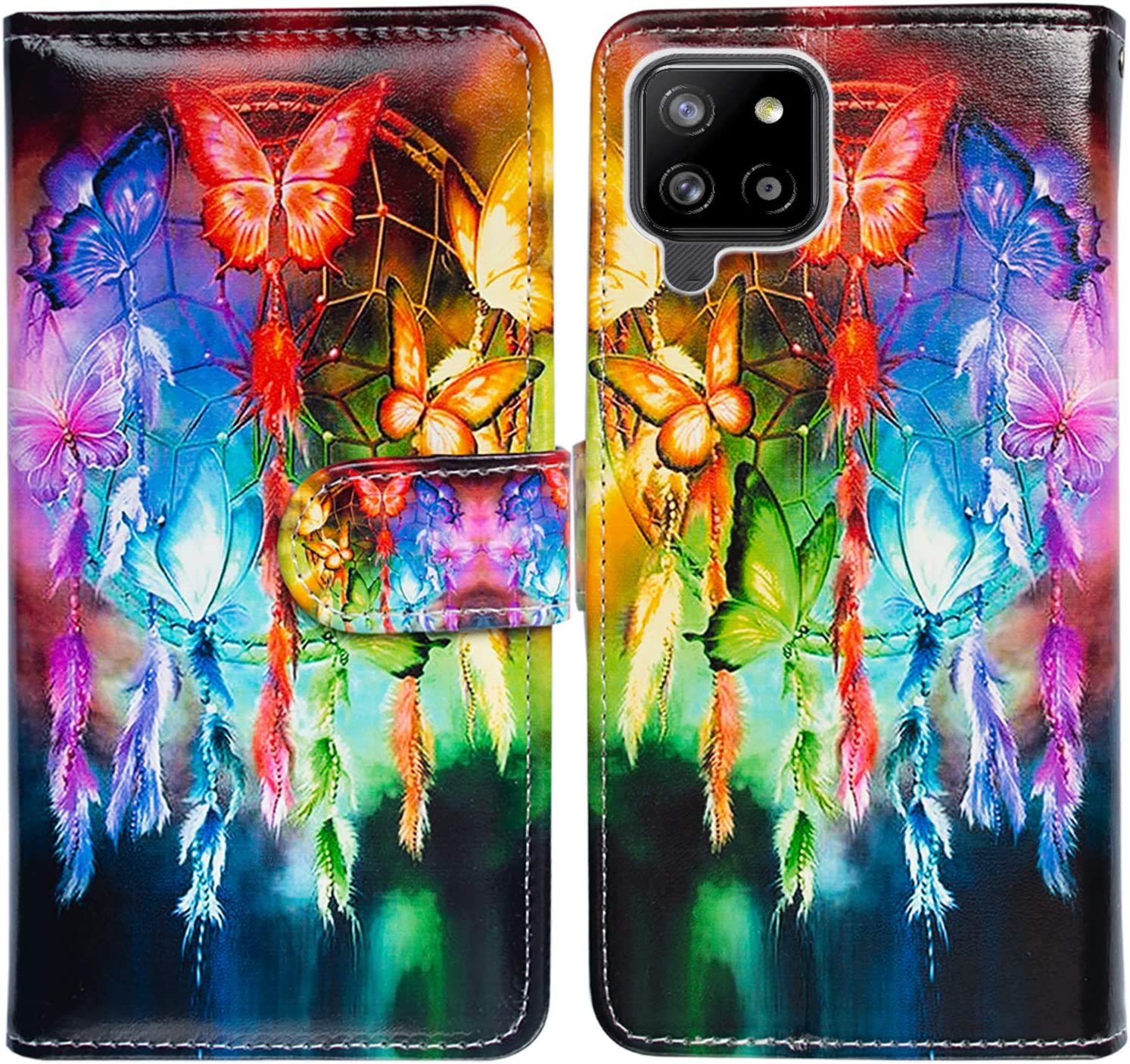Galaxy A42 5G Case,Bcov Butterfly Dream Catcher Leather Flip Phone Case Wallet Cover with Card Slot Holder Kickstand for Samsung Galaxy A42 5G 2021