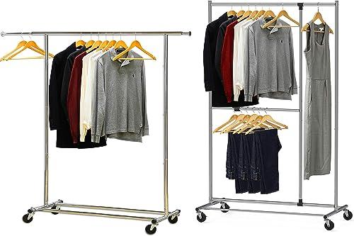 wholesale Simple Houseware Heavy Duty Clothing Garment discount Rack + Dual 2021 Bar Adjustable Garment Rack sale