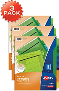 Avery 8-Tab Plastic Binder Dividers, Insertable Multicolor Big Tabs, 3 Sets (11901) - 71901