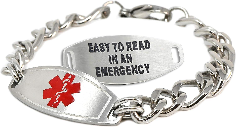 My Identity Doctor Medical Alert Bracelet Elegant with Free Men Reservation Engr for