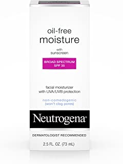 Neutrogena Oil Free Daily Long Lasting Facial Moisturizer & Neck Cream - Oil Free Moisturizer Won't Clog Pores with SPF 35 Sunscreen, Glycerin, 2.5 fl. oz
