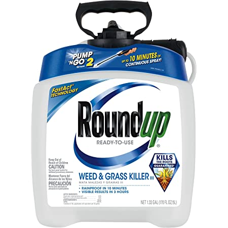 Roundup Ready-To-Use Weed & Grass Killer III -- with Pump 'N Go 2 Sprayer, Use in & Around Vegetable Gardens, Tree Rings, Flower Beds, Patios & More, Kills to the Root, 1.33 gal.