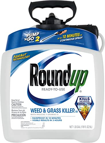 Roundup Ready-To-Use Weed & Grass Killer III -- with Pump 'N Go 2 Sprayer, Use in & Around Vegetable Gardens, Tree Ri...
