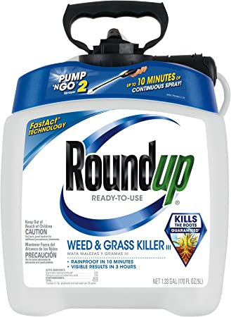 Roundup Ready-to-Use Weed & Grass Killer III - with Pump 'N Go 2 Sprayer, Use in & Around Vegetable Gardens, Tree Rings, Flower Beds, Patios & More, Kills to The Root, 1.33 gal.