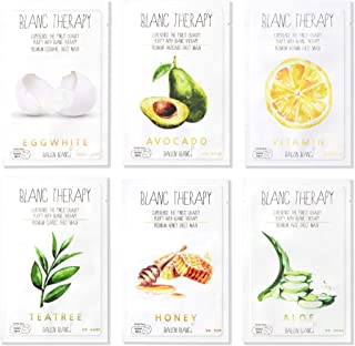 Best Ballon Blanc Therapy Face Facial Masks Sheet Infused With Aloe,TeaTree, Avocado,Vitamin,Honey & EggWhite 6 Nutritional Mask Korean Skin Care Review