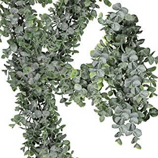"Supla 8.7' Long 5.9"" Wide Faux Eucalyptus Leaves Garland Fake Artificial Hanging Eucalyptus Greenery Garland in Grey Green for Wedding Holiday Decorations UV Protected Indoor Outdoor"