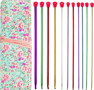 Case of 11 Tunisian Afghan Crochet Hooks Aluminum Knitting Needles Set Kit Tools for Beginners(2mm-8mm)