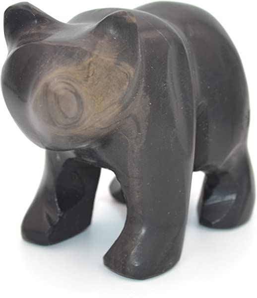 Jet Black Stone Bear Figure 4 Long Carved From Real North American Onyx The Artisan Mined Series By HBAR