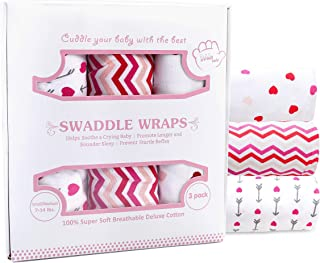 Baby Swaddle Blankets for Newborn Girl, Small/Medium 0-3 Months Old, 3 Set of Adjustable Infant Wrap, Pink & Fuchsia