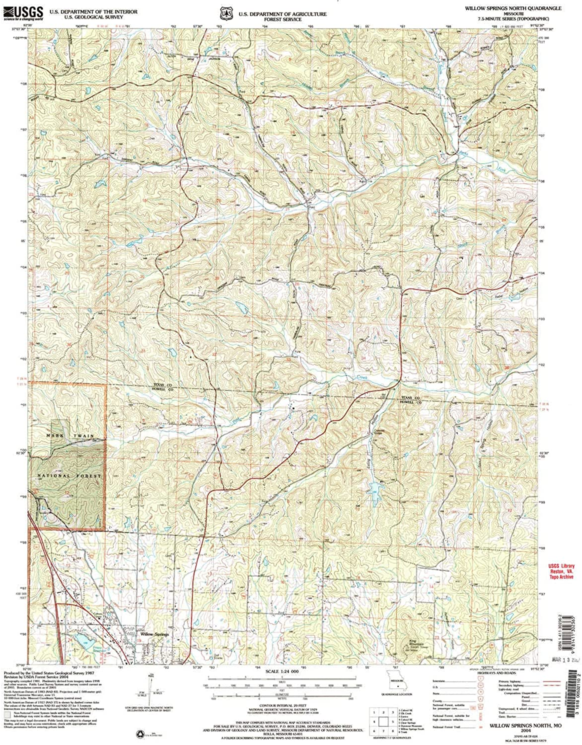 Willow Springs North MO topo map, 1 24000 Scale, 7.5 X 7.5 Minute, Historical, 2004, Updated 2006, 26.8 x 22 in
