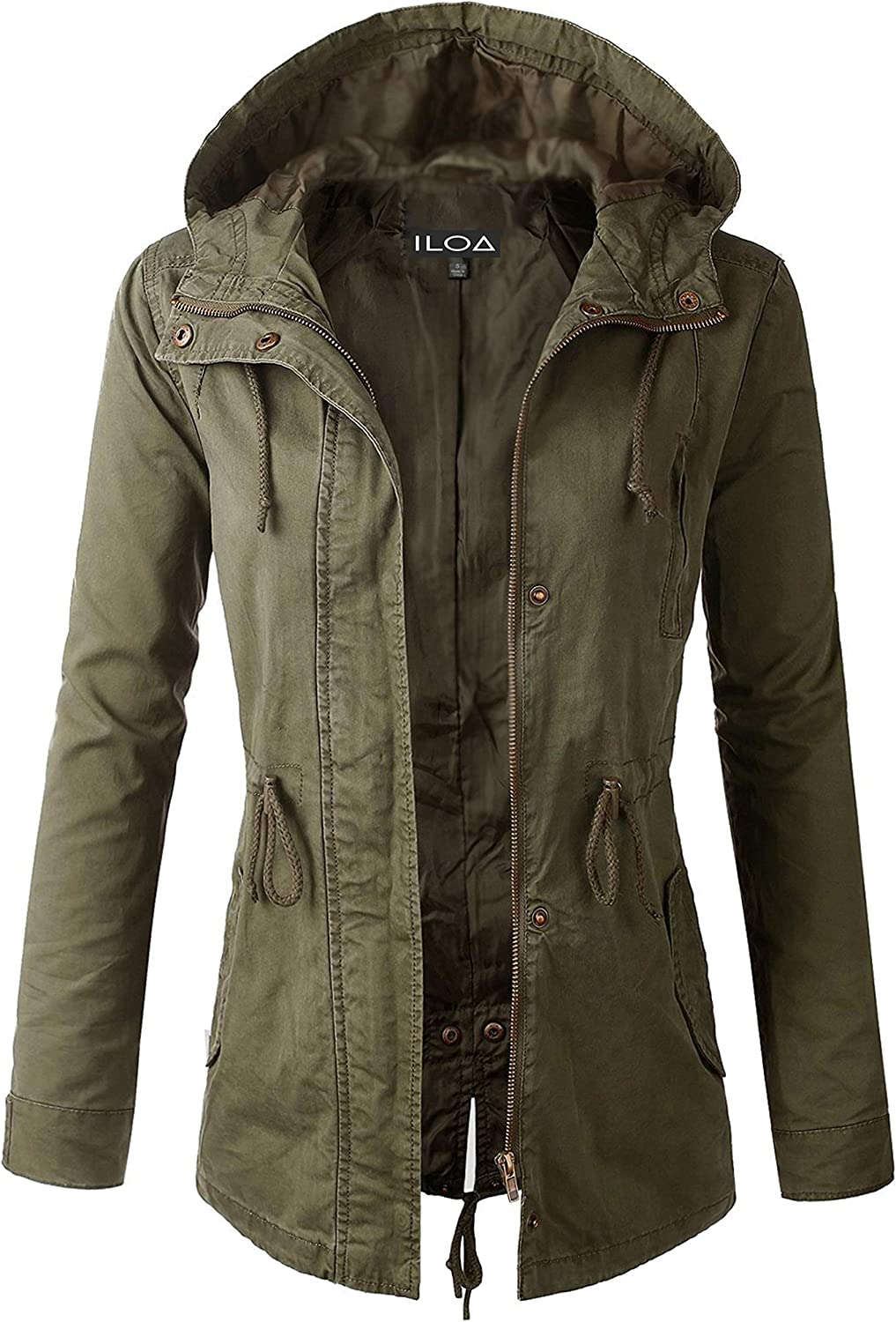 ILOA Casual Lightweight Classic Cotton Anorak Utility Army Jackets