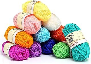 LIHAO Mini Pelotes de Laine Multicolores en Acrylique pour Tricot, Les Loisirs Créatifs - (Lot de 12pcs, 26m/Rouleau, 15g/...