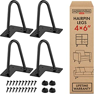 Interesthing Home Hairpin Legs for Coffee and End Tables, Chairs and Home DIY Projects, 6 Inches