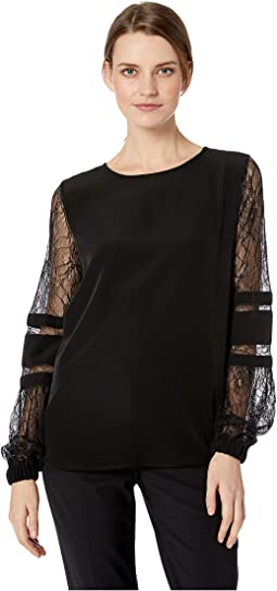 Solid Long Sleeve with Lace Sleeve