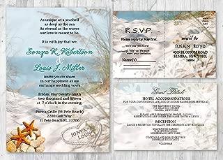 Beach Wedding Invitations and Matching Cards Starfish Seashell Invitation Set of 30