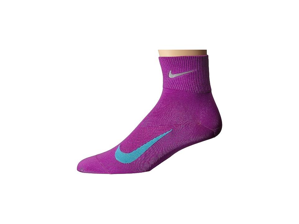 Nike Elite Run Lightweight 2.0 Quarter (Cosmic Purple/Omega Blue) Quarter Length Socks Shoes