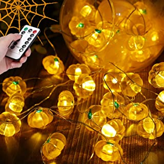 JIELIELE Halloween Pumpkin String Lights, 10ft 40 LEDs Fairy Light with Remote, Orange String Lights for Halloween, Thanksgiving, Christmas, Fall Decor Indoor Outdoor