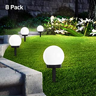 SEFON Solar Lights Outdoor, 8 Pcs LED Solar Powered Globe Garden Light Waterproof Solar Yard Lights for Yard Patio Walkway Landscape In-Ground Spike Pathway Cold White