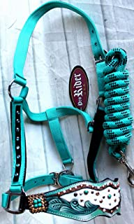 PRORIDER Horse Noseband Tack Bronc Leather Halter Tiedown Lead Rope 280M80213