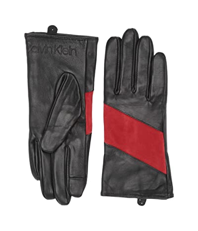 Calvin Klein Spliced Color Block Leather Touch Gloves (Process Red) Over-Mits Gloves