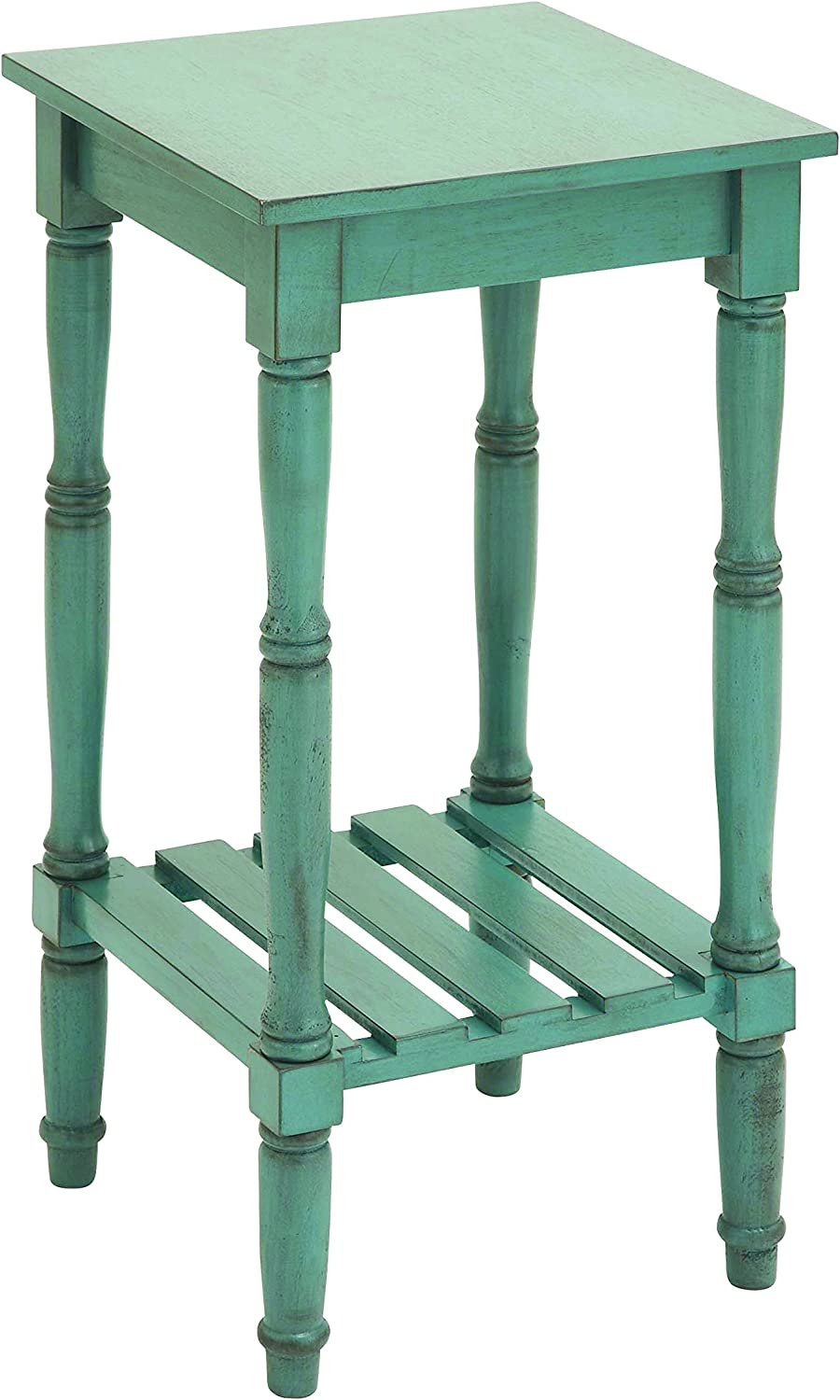 Benzara Wood Accent Table with Square Top Surface, 18 by 18 by 18-Inch, bluee