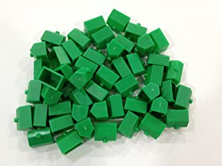 Plastic Hotels: Green Color Board Game Replacement Hotel (Colored Miniature Town & City Buildings, Board Game Playing Pieces)