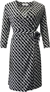 Women's 3/4 V-Neck wrap Dress with Chain Print Dress Tea Break Skirt