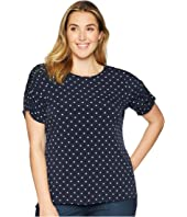 Plus Size Ruched Sleeve Romantic Dots Top