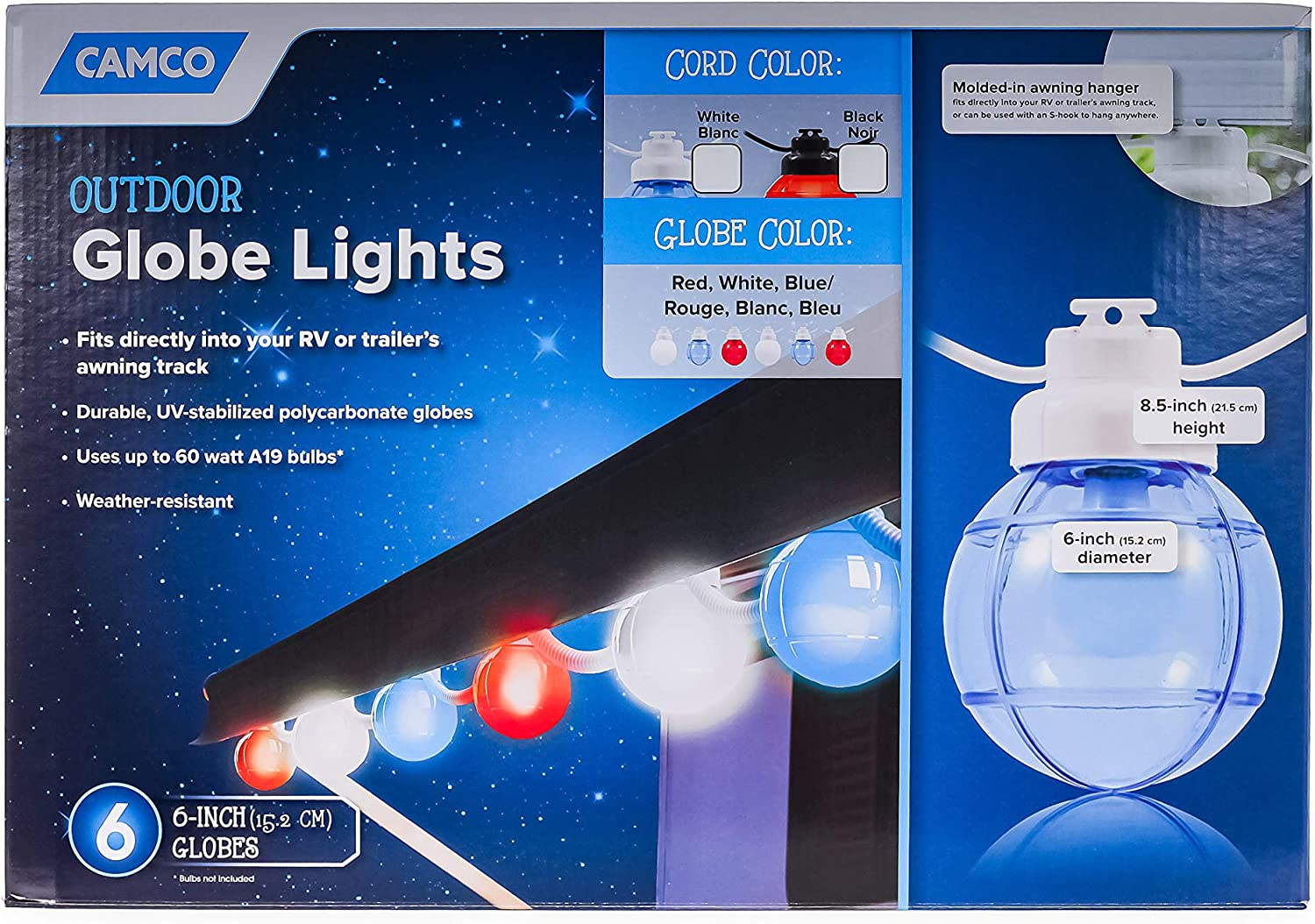 Camco OFFicial shop 42763 Decorative Lights-6 Patriotic Wire Black Large special price !! Globes on